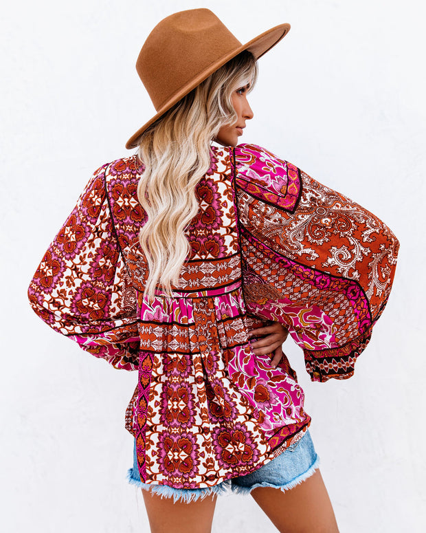Happy Days Balloon Sleeve Patchwork Top