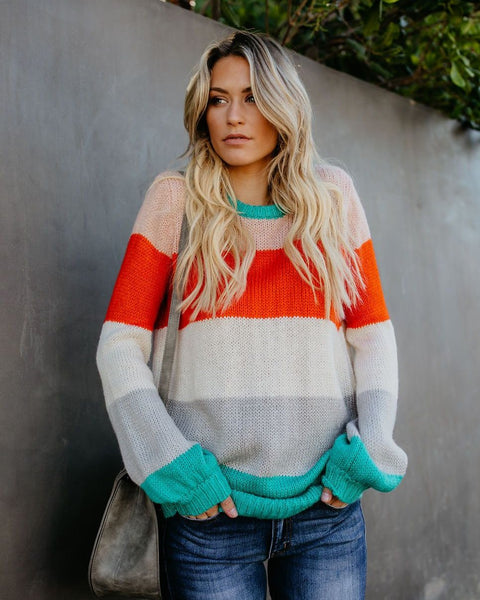 Happy Days Striped Knit Sweater