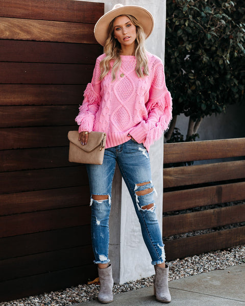 Happy Go Lucky Fringe Cable Knit Sweater - Cool Pink - FINAL SALE
