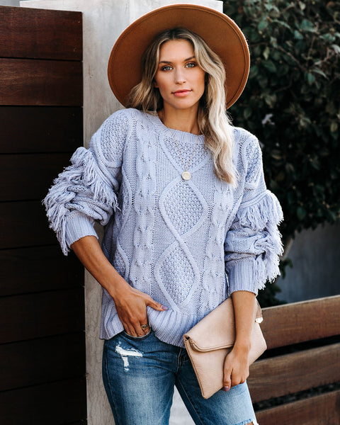 Happy Go Lucky Fringe Cable Knit Sweater - Powder Blue