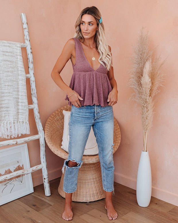 Happy Hour Knit Babydoll Tank - Mauve