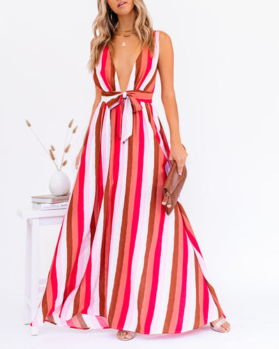 Happy Hues Striped Tie Front Maxi Dress