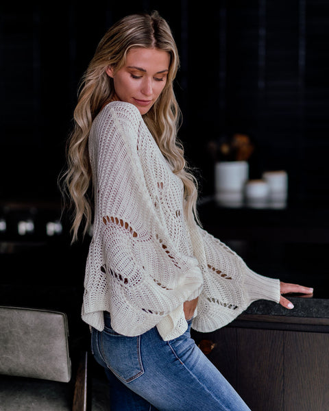Happy Trails Scalloped Dolman Sweater - Cream  - FINAL SALE