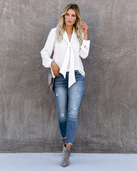 Harvest Moon Tie Blouse - Off White