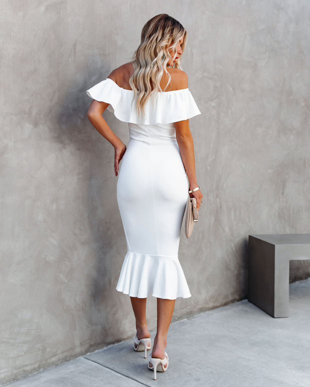 Havana Ruffle Midi Dress - Ivory