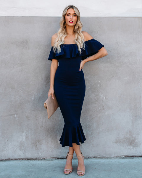 PREORDER - Havana Ruffle Midi Dress - Navy