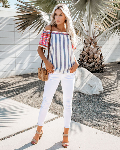 Hayes Cotton Striped Embroidered Off The Shoulder Top