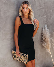 Headline Square Neck Bodycon Dress - Black