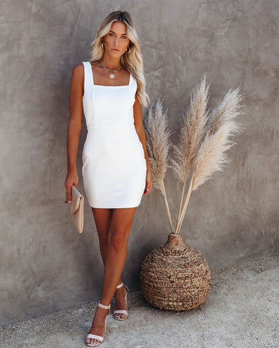 Headline Square Neck Bodycon Dress - Off White