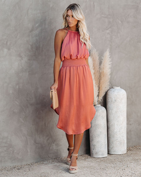 Heartfelt Satin Smocked Midi Dress - Dusty Peach