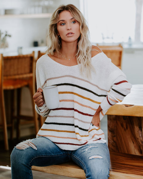 Hearth And Home Striped Knit Sweater