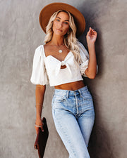 Heartland Linen Blend Crop Tie Top - Off White