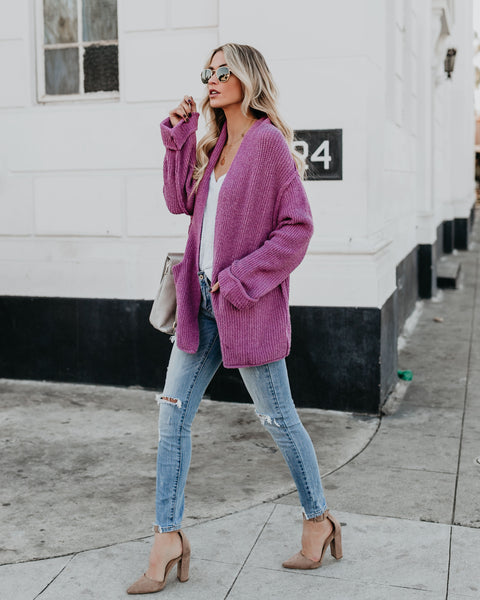 Heart's Content Knit Pocketed Cardigan - Plum