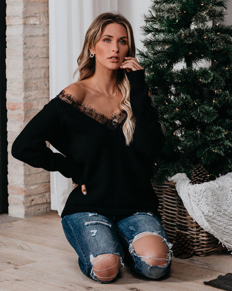 Hearts In The Right Place Lace Sweater - Black