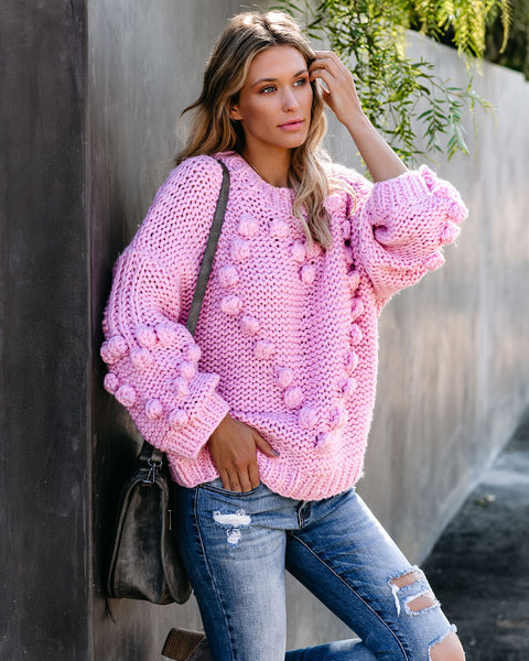 Heart To Heart Handmade Knit Pom Sweater - Candy Pink - FINAL SALE