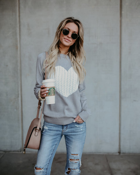 With Love Cotton Sweater - Grey