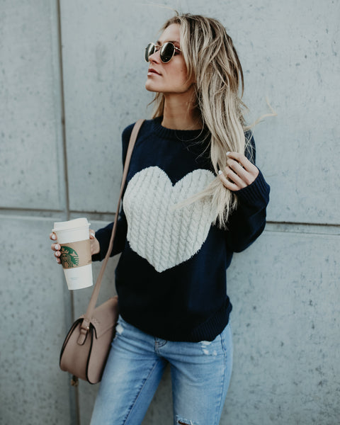 With Love Cotton Sweater - Navy