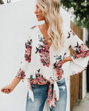 Heavenly Hydrangeas Tie Top - Ivory