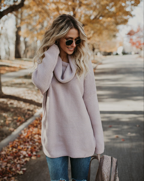 Heavy Knitter Cotton Sweater - Mauve
