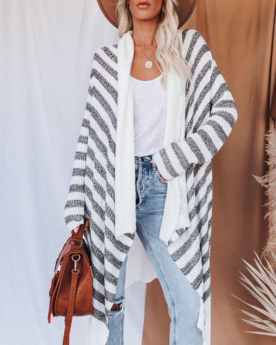 Helen Striped Knit Drape Cardigan