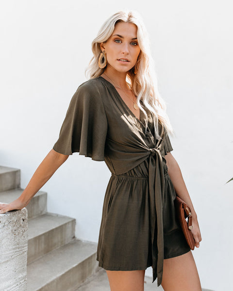 Hello Again Tie Pocketed Romper - Dark Olive