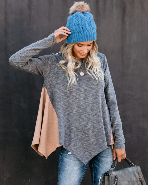 Hello October Colorblock Drape Knit Top - FINAL SALE