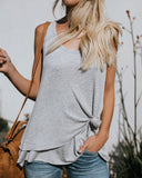 Hendrix Contrast Thermal Knot Tank - Heather Grey