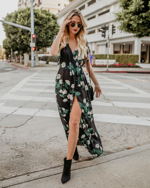 Hendrix Short Sleeve Wrap Maxi Dress
