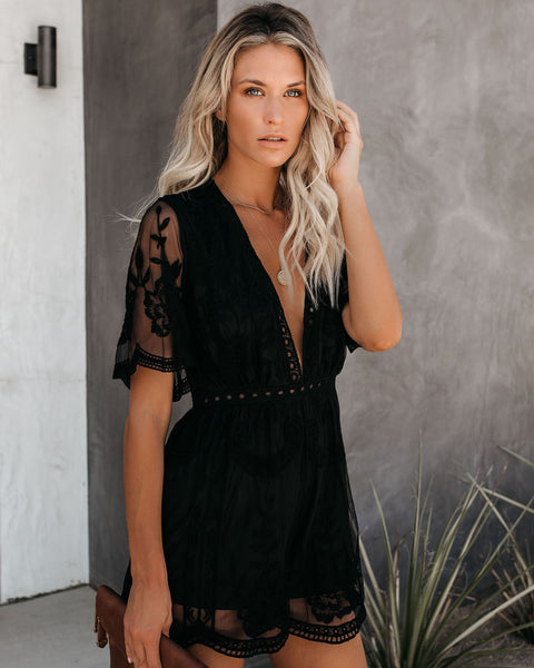 Hera Lace Romper - Black