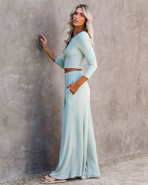 Hermosa Pocketed Ribbed Wide Leg Pants - Sage