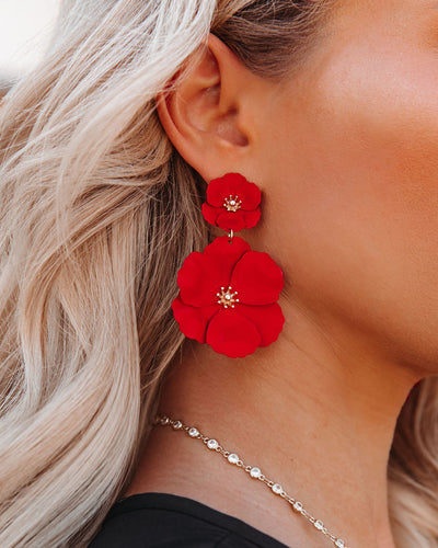 Hibiscus Statement Earrings - Red