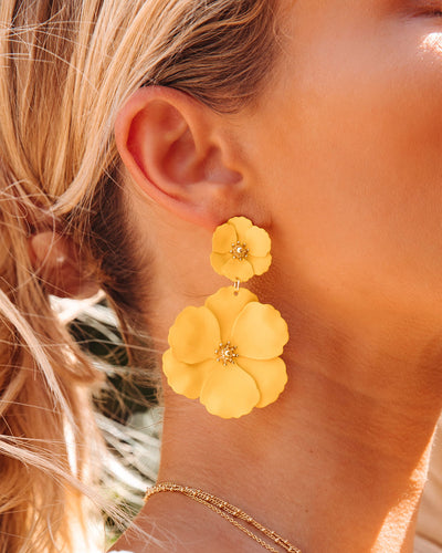 Hibiscus Statement Earrings - Yellow