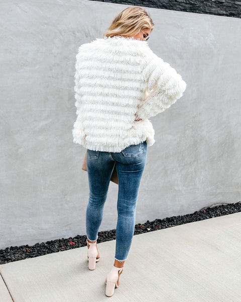 Hide And Chic Pocketed Fringe Jacket - Ivory