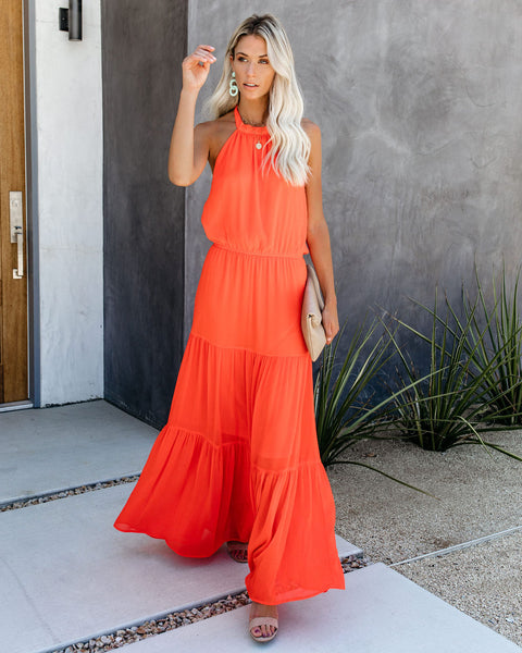 High Alert Tiered Halter Maxi Dress