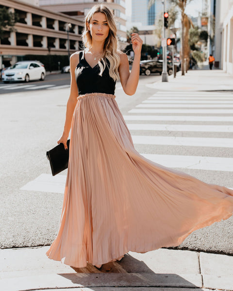 High & Defined Faux Leather Contrast Maxi Dress - Blush