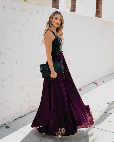 High & Defined Faux Leather Contrast Maxi Dress - Wine