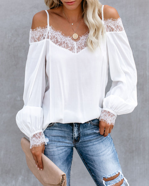 Highly Desired Lace Cold Shoulder Blouse - White - FINAL SALE