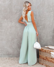 High Tea Pleated Wide Leg Belted Jumpsuit view 11