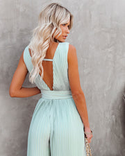 High Tea Pleated Wide Leg Belted Jumpsuit view 2
