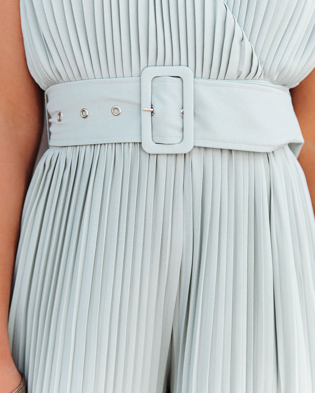 High Tea Pleated Wide Leg Belted Jumpsuit view 4