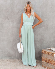 High Tea Pleated Wide Leg Belted Jumpsuit view 8