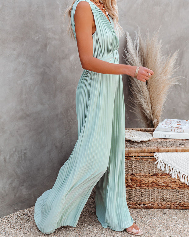 High Tea Pleated Wide Leg Belted Jumpsuit view 5