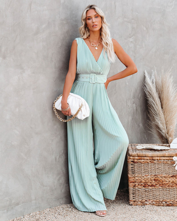 High Tea Pleated Wide Leg Belted Jumpsuit view 3
