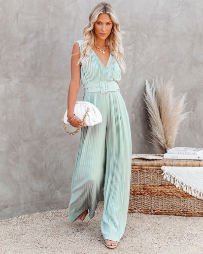 High Tea Pleated Wide Leg Belted Jumpsuit