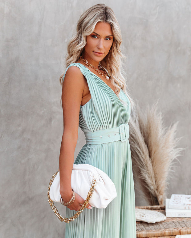 High Tea Pleated Wide Leg Belted Jumpsuit view 9