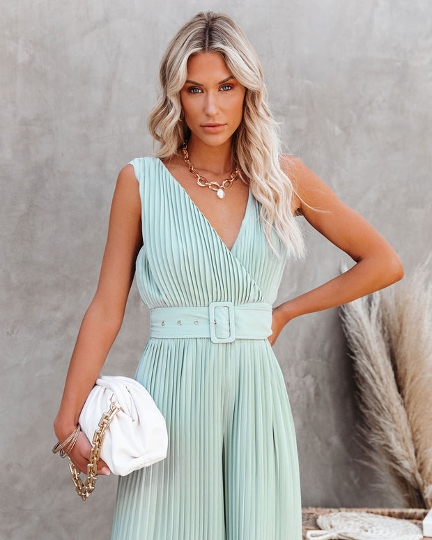 High Tea Pleated Wide Leg Belted Jumpsuit view 7
