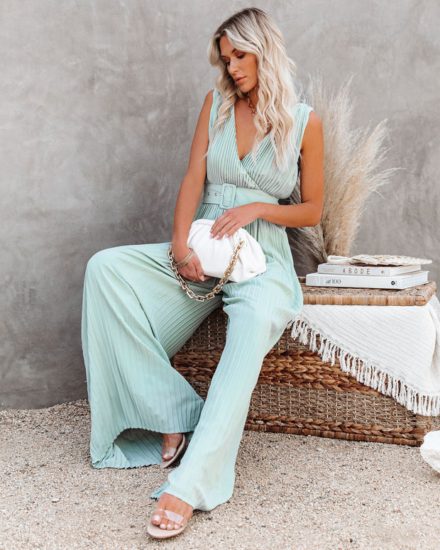 High Tea Pleated Wide Leg Belted Jumpsuit view 6