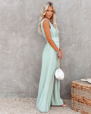 High Tea Pleated Wide Leg Belted Jumpsuit view 10