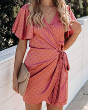High Tea Satin Embossed Polka Dot Wrap Dress - Mauve