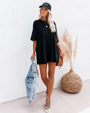 His Cotton Oversized Tee - Black